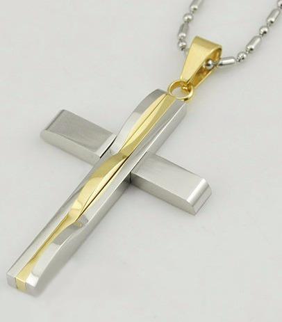 Colar Crucifixo Unissex Aço Inoxidável + Banhado Ouro 18k M1