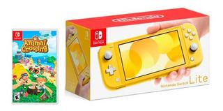 Switch Lite Amarilla + Animal Crossing + Lámina / Electrog