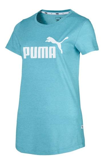 Remera Puma Elevated Essentials Heather Tur/bla De Mujer