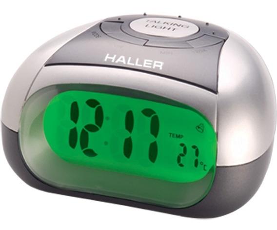 Relógio Despertador Digital Prata Fala Horas Haller Digivox