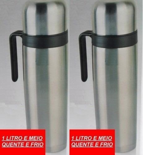 2 Garrafa Térmica Aço Inox Inquebrável 1,5l Café Chimarrão