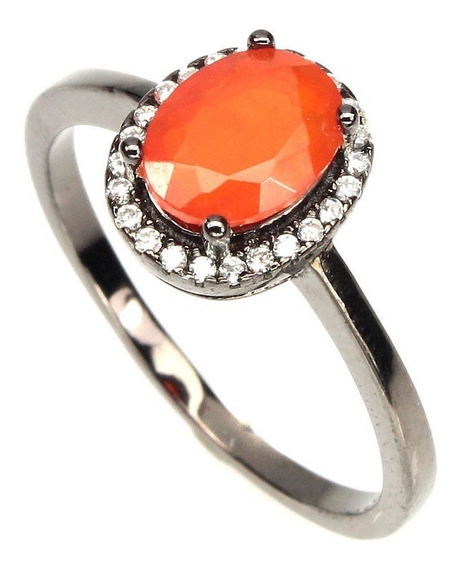 Escasa Anillo Opalo D Fuego Naranja #8 Plata 925 Ringking