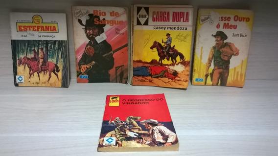 Lote De 5 Livros Antigos Faroeste Clássicos Pocket Raros