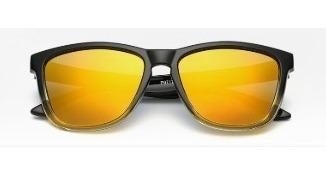 Óculos De Sol Preto Quadrado Retrô Com Lentes Amarelas
