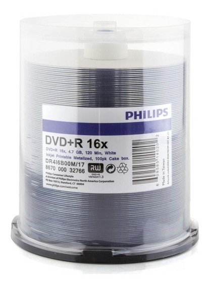 Dvd Virgen Printeable Philips Dvd-r 16x 4.7gb Base Blanca