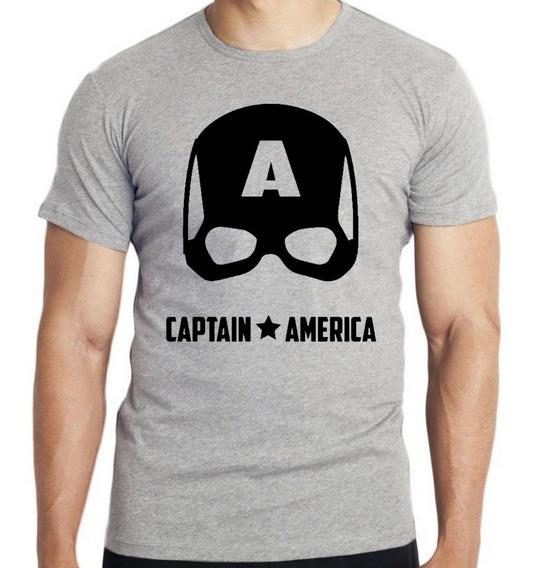 Camiseta Infantil Kids Capitão América Máscara Black Marvel