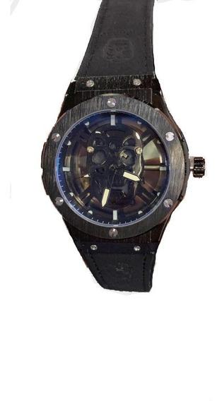 Relógio Masculino Pulseira De Couro Cranio Top+frete