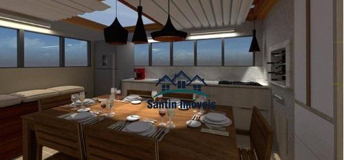 Cobertura Com 2 Quartos(01 Suíte ) Fino Acabamento, 02 Vagas Cobertas  À Venda, 100 M² - Utinga - Santo André/sp - Co0652