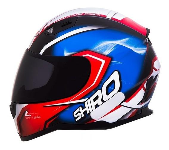 Capacete Shiro Sh881 Motegi Azul/vermelho