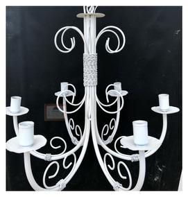 Lustre Luminária Ferro Teto Branco 6 Bocais Cozinha Sala