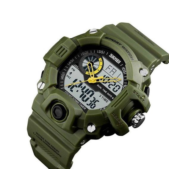 Relógio Masculino Skmei Anadigi 1331 Verde Pulso Hora