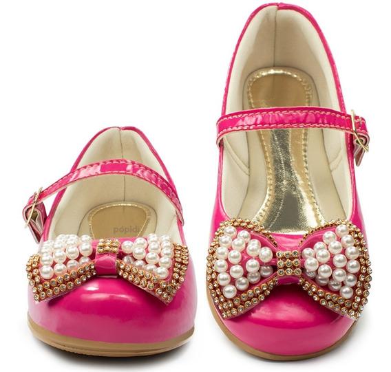 Sapatilha Infantil Feminina Dourada Moda Barato Rosa 09