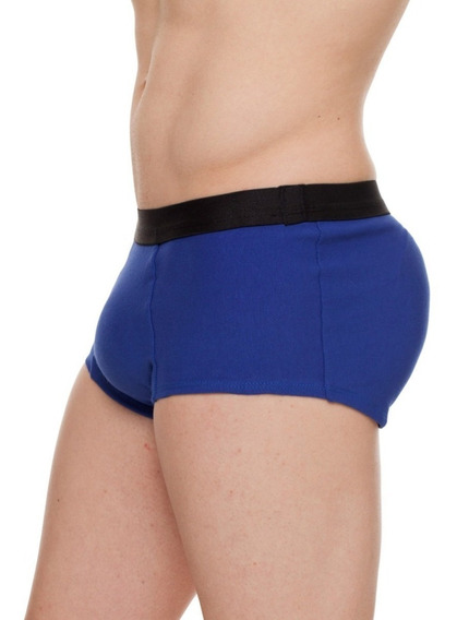 Cueca Com Enchimento Traseiro Empinar Bumbum Mini Boxer Azul