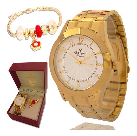Relógio Feminino Champion Dourado Ouro Com Pulseira Berloque Brinde Prova D