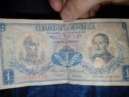 Imagen 1 de 1 de Billete De 1 Peso Oro De Octubre 12 De 1963