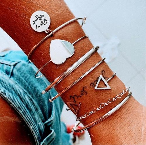 Bracelete Triângulo Em Prata 925