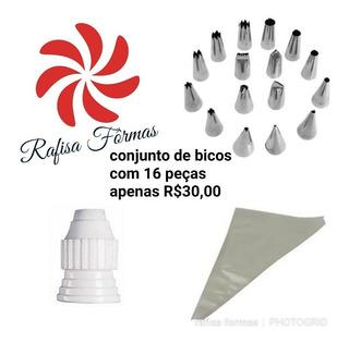 Jogo De 16 Bicos + Adaptador + 1 Saco De Confeitar