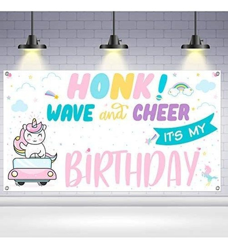 Imagen 1 de 7 de Señal Unicornio, Honk Su Mi Cumpleaños - Grande, 72x40 Pul