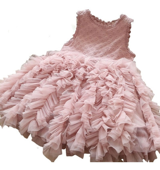 Hermoso Vestido Elegante De Niña Fiesta #8 Relieve Floreado