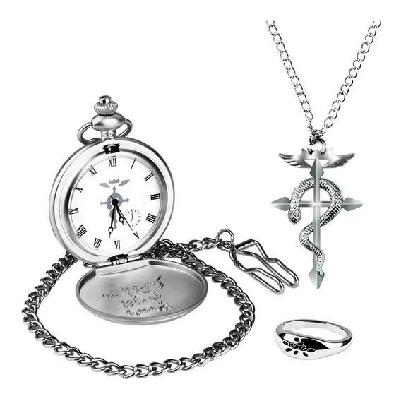 Kit Relógio Dos Alquimistas Federais - Fullmetal Alchemist +colar Prateado Cosplay + Anel