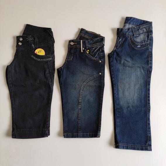 3 Shorts Jeans Ciclista Corsário Tamanho 14 Juvenil Adulto