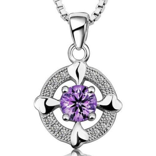 Pendiente De Plata Esterlina Con Cristal Purpura Para Mujer