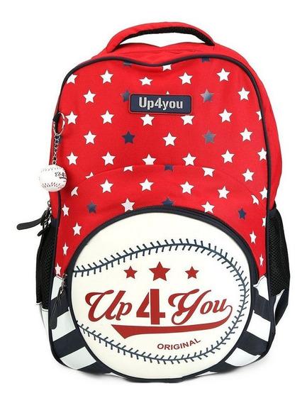 Mochila De Costas Up4you Baseball Vermelha Ms45472up