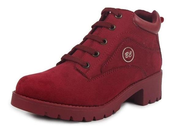 Botines Dama Mujer Tipo Gamuza Rojo Casuales Cómodos