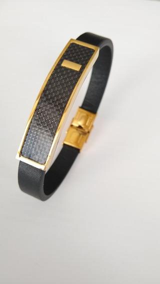 Pulseira Bracelete Masculino Em Aço Partes Banhado Ouro 18k