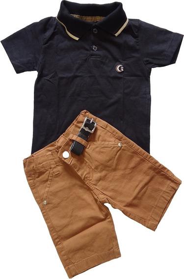 Camiseta Polo Infantil + Shorts Elastano Com Cinto