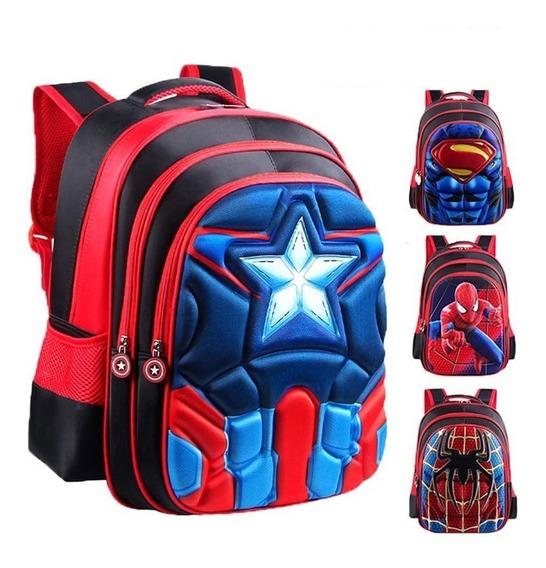 Mochila Escolar Infantil Capitão América Homem Aranha 3d