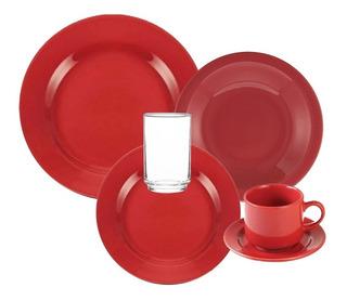 Vajilla Completa Juego 24 Piezas Cerámica Biona Rojo Platos Playos Hondos De Postre Vasos Set Para 4 Apto Microondas