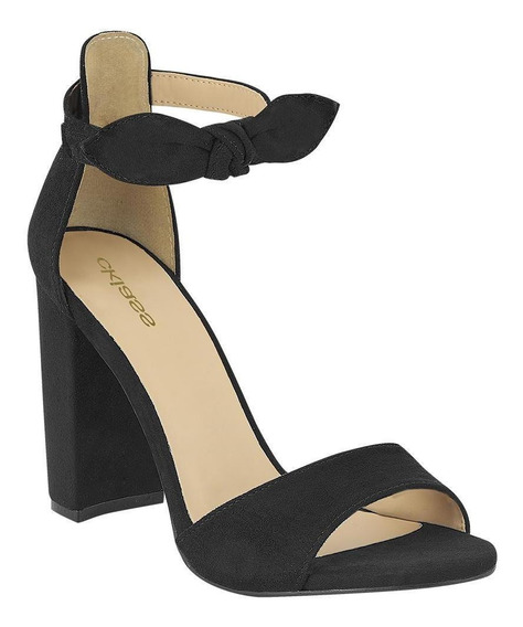Zapato Sandalia Mujer Casual Tacón Moño Decorativo Negro Ckl
