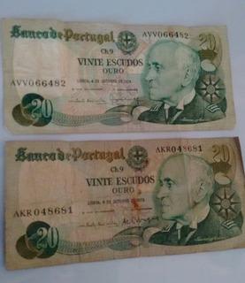 Billete Antiguo De 20 Escudos De Portugal
