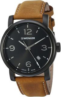 Reloj Wenger De Hombre Caja Acero Negro Y Malla Marron