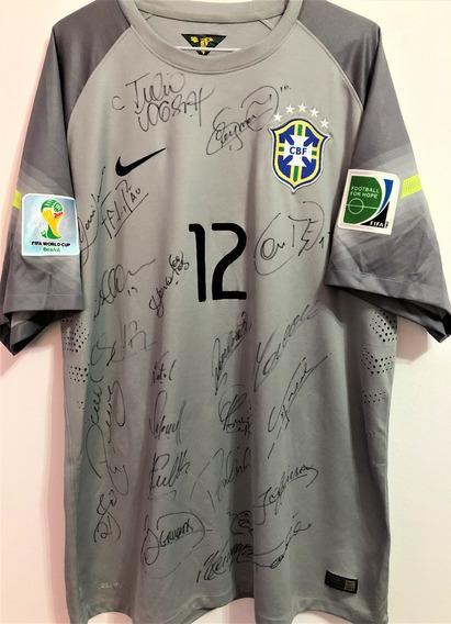 Camisa Brasil Copa 2014 Preparada Jogo Autografada Todos