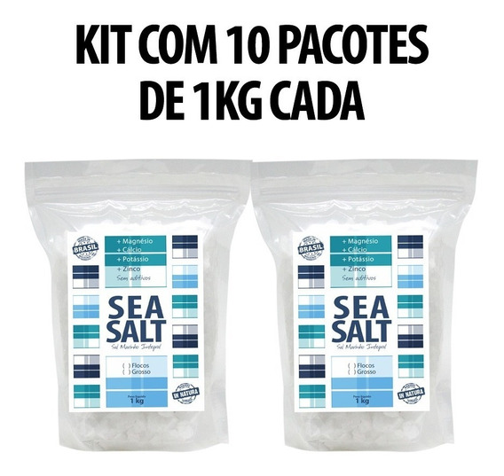 Sal Marinho Grosso In Natura - 100% Integral Kit Com (10 Kg)