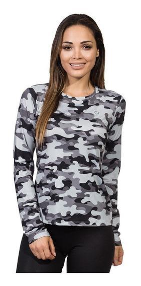 Camisa Camuflada Feminina Longa Proteção Solar Uv Fpu50