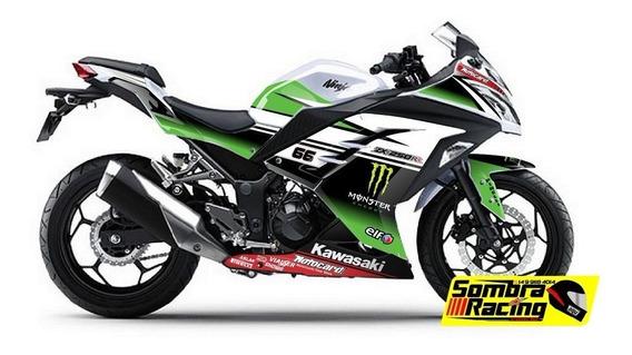 Kit Adesivo Kawasaki Ninja 300 Motogp Superbike Zx3r Branca