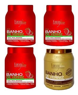 Kit 3 Banho Morango E 1 Banho De Verniz Forever Liss 1kg