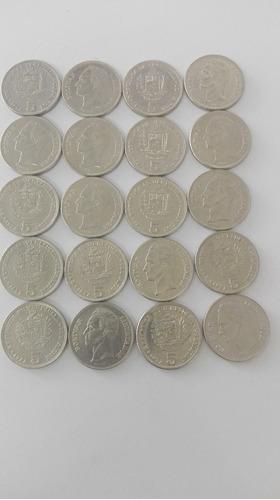 Monedas De 5 Bolívares Año-1973-1977, No Vigentes.