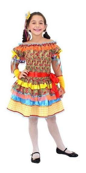 Vestido Festa Junina _ Caipira Margarida Amarela Infantil