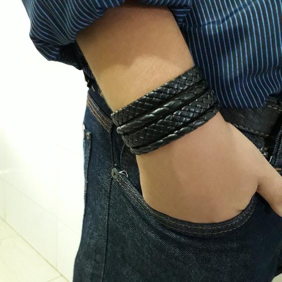 Pulseira De Couro Masculina Com Fecho Magnético + Brinde