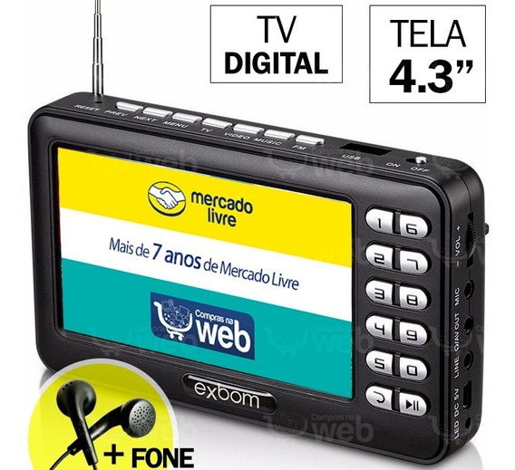 Mini Tv Digital Antena Portátil 4.3 Pol Exbom Usb Sd + Fone