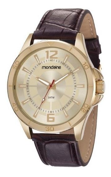 Relógio Mondaine Masculino Dourado Pulscouro 35078