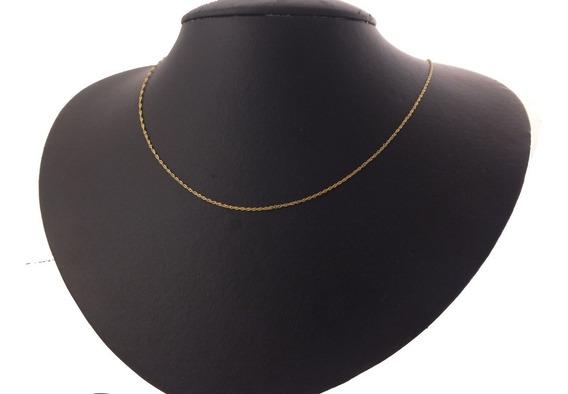 Cordão Torcido Singapura Feminina 50cm Ouro 18k 750 J21737
