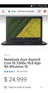 Notebook Usada Acer I5