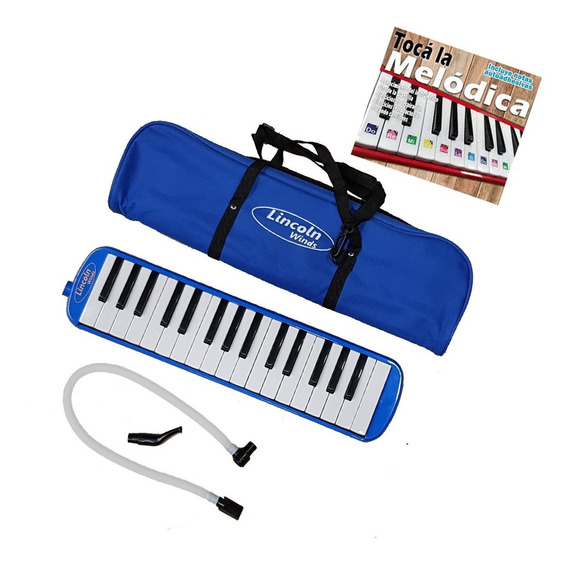Melodica Lincoln Winds 32 Notas Azul Boquill Manguera Metodo