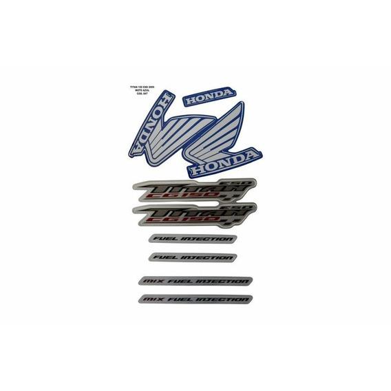 Jogo Adesivo Cg 150 Titan Esd Azul 2009