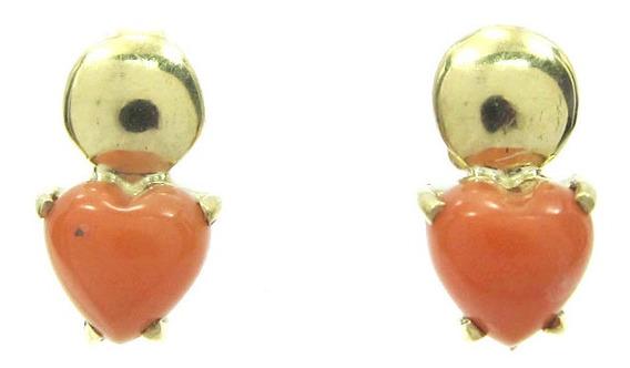 Joianete B9016-30710 Brinco De Ouro Coração E Coral Lindo